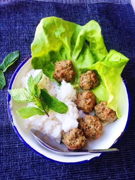 Thai Larb Meatball Lettuce Wraps Recipe