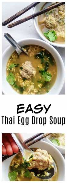 Thai Egg Drop Soup has such heart-warming flavors: cilantro, green onion, easy meatballs, and eggs, and is the perfect quick, weeknight meal! | thai-foodie.com