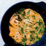Quick Thai Salmon Red Curry is the perfect weeknight meal since it's full of flavor and only takes 30 minutes! Can it get more delicious?? Salmon, kale, Thai red curry paste, and coconut milk! Such a heartwarming treat to get you through your week! SO good! | thai-foodie.com