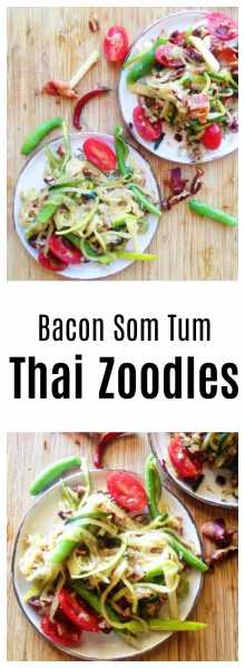 Thai Som Tum Bacon Zoodle-Enjoy your favorite Thai som tum flavors with a fusion twist using zoodles, bacon, honey roasted pecans and granny smith apple! So easy, full of flavor and fun! | thai-foodie.com