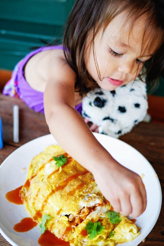 Craving a quick heart-warming Thai meal? Thai Fried Rice Omelette is your answer! Thai Fried Rice filed with your favorite veggies and wrapped up in a crepe like omelette, kid-friendly and mom loving too!   thai-foodie.com